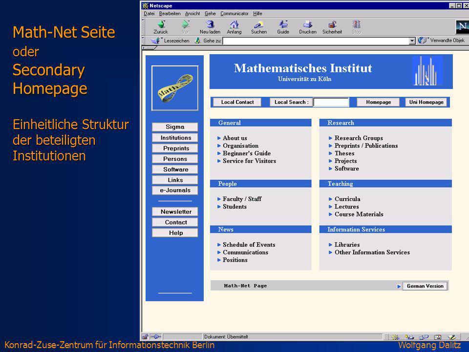 Math-Net Seite oder Secondary