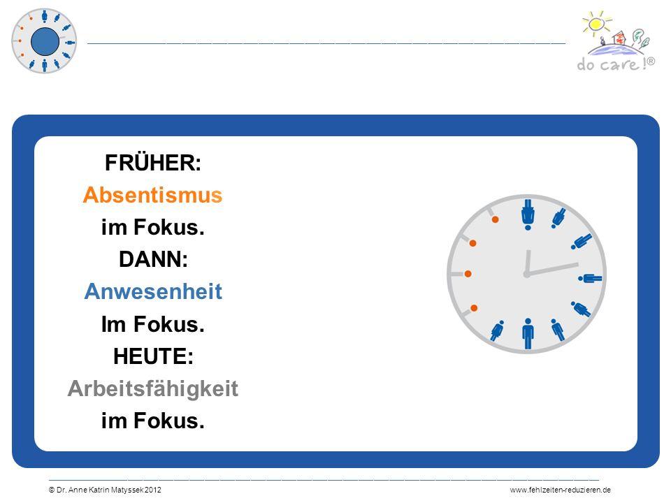 FRÜHER: Absentismus im Fokus. DANN: Anwesenheit Im Fokus. HEUTE: Arbeitsfähigkeit