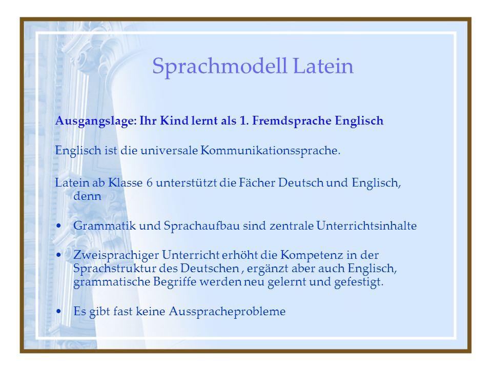 Sprachmodell Latein Ausgangslage: Ihr Kind lernt als 1. Fremdsprache Englisch. Englisch ist die universale Kommunikationssprache.