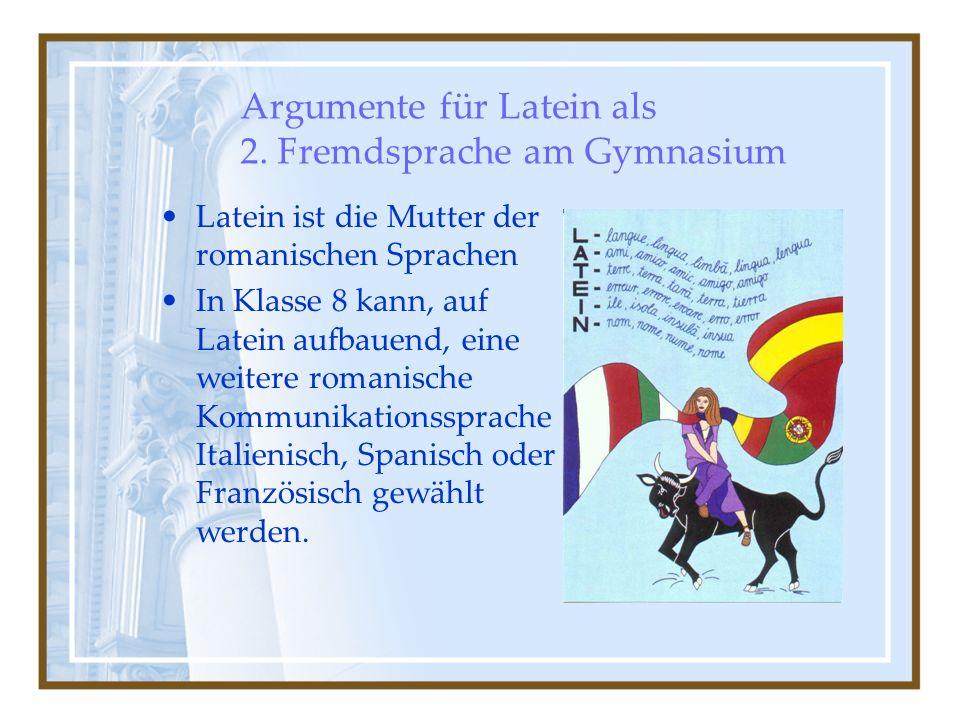 Argumente für Latein als 2. Fremdsprache am Gymnasium