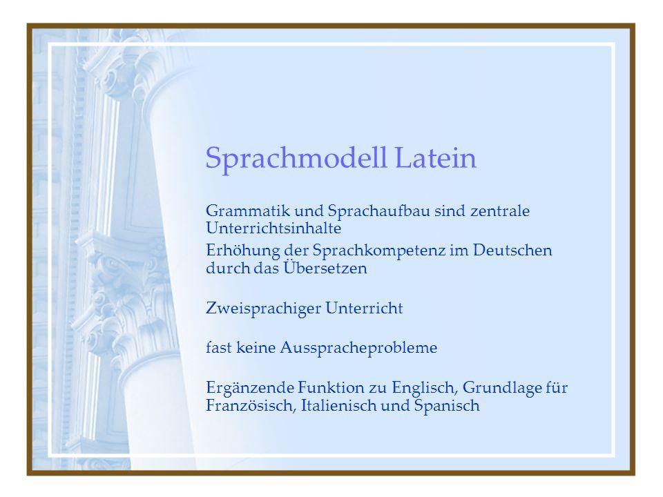 Sprachmodell Latein Grammatik und Sprachaufbau sind zentrale Unterrichtsinhalte. Erhöhung der Sprachkompetenz im Deutschen durch das Übersetzen.