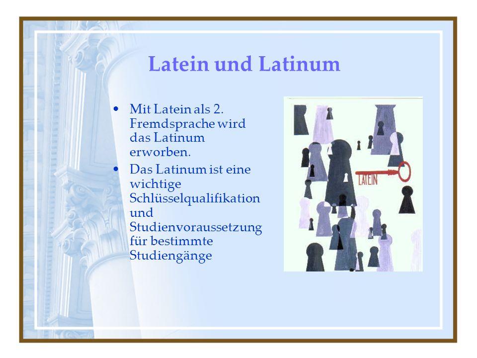 Latein und Latinum Mit Latein als 2. Fremdsprache wird das Latinum erworben.