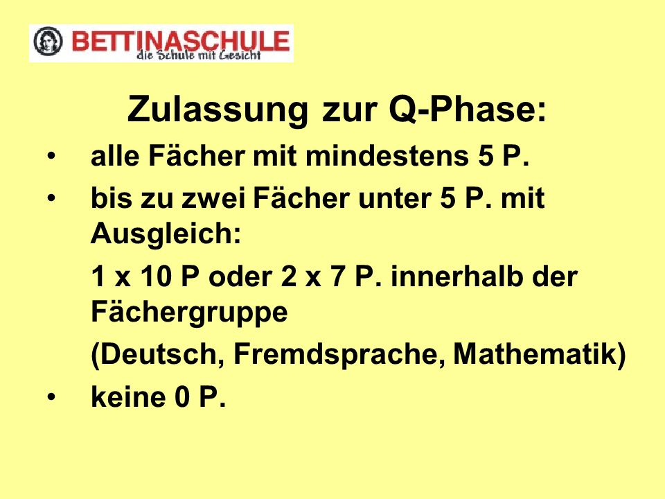 Zulassung zur Q-Phase:
