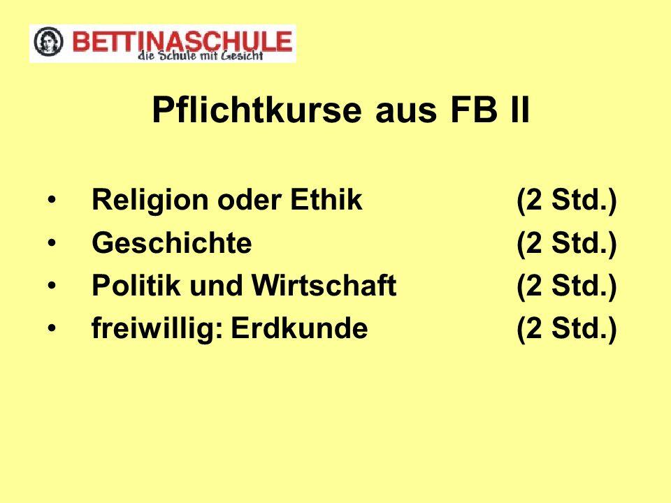 Pflichtkurse aus FB II Religion oder Ethik (2 Std.)