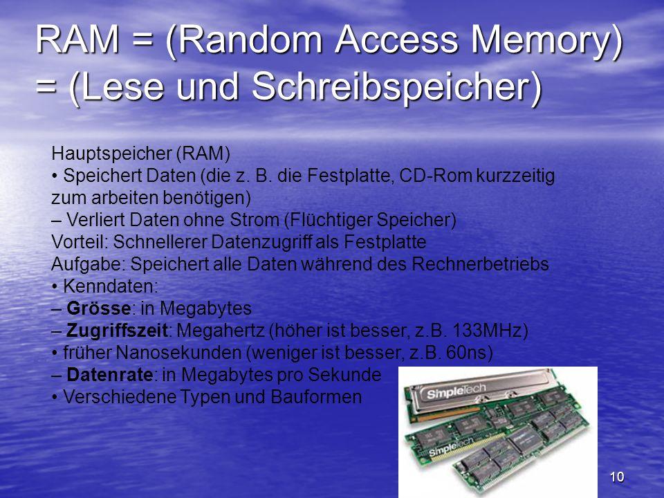 RAM = (Random Access Memory) = (Lese und Schreibspeicher)