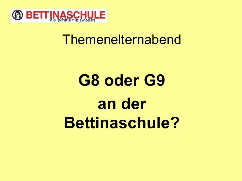 Themenelternabend G8 oder G9 an der Bettinaschule