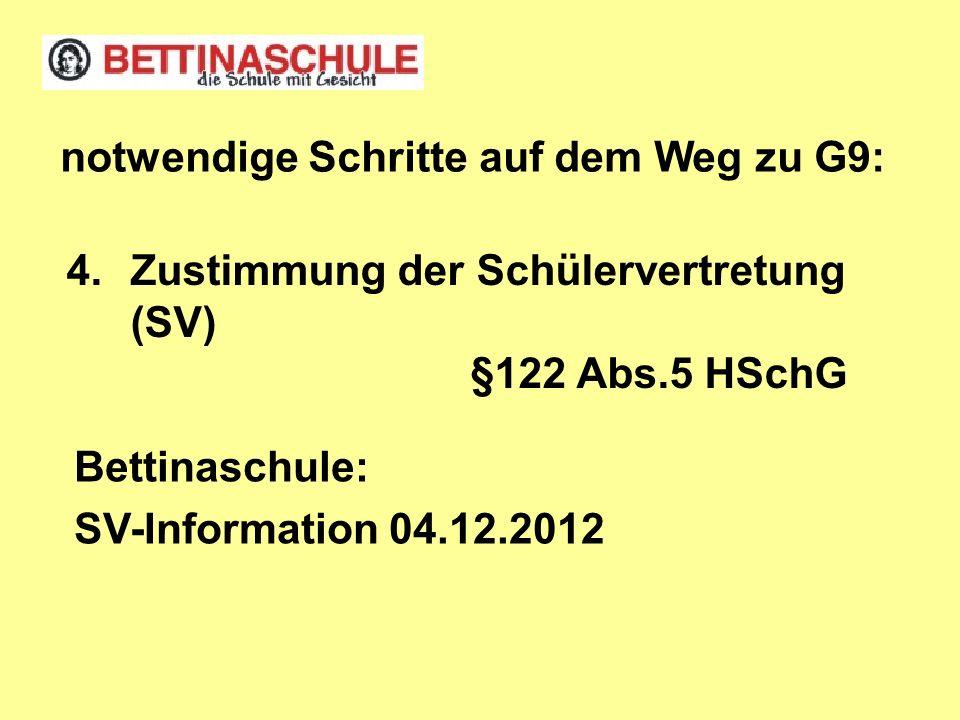 Zustimmung der Schülervertretung (SV) §122 Abs.5 HSchG