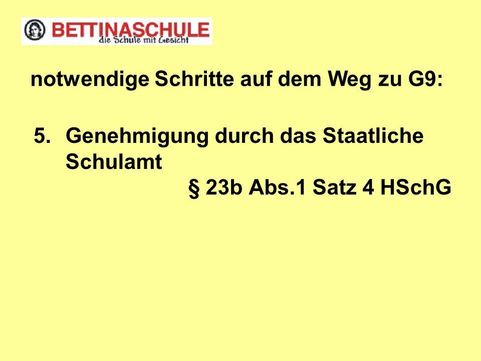 Genehmigung durch das Staatliche Schulamt § 23b Abs.1 Satz 4 HSchG