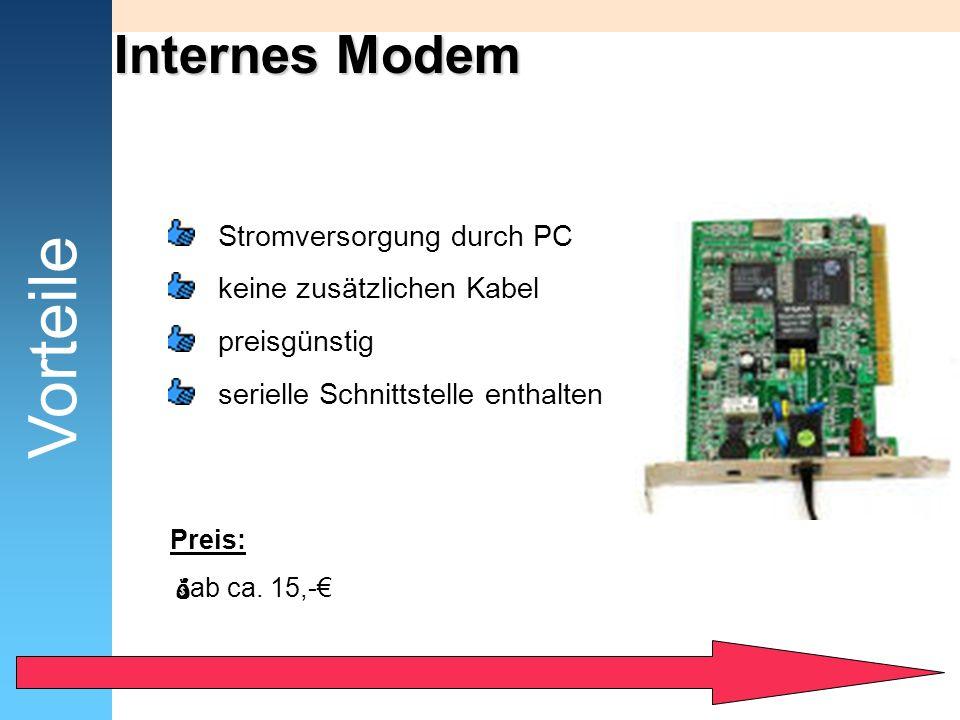 Vorteile Internes Modem Stromversorgung durch PC