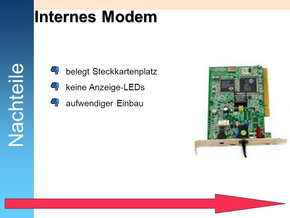Nachteile Internes Modem belegt Steckkartenplatz keine Anzeige-LEDs