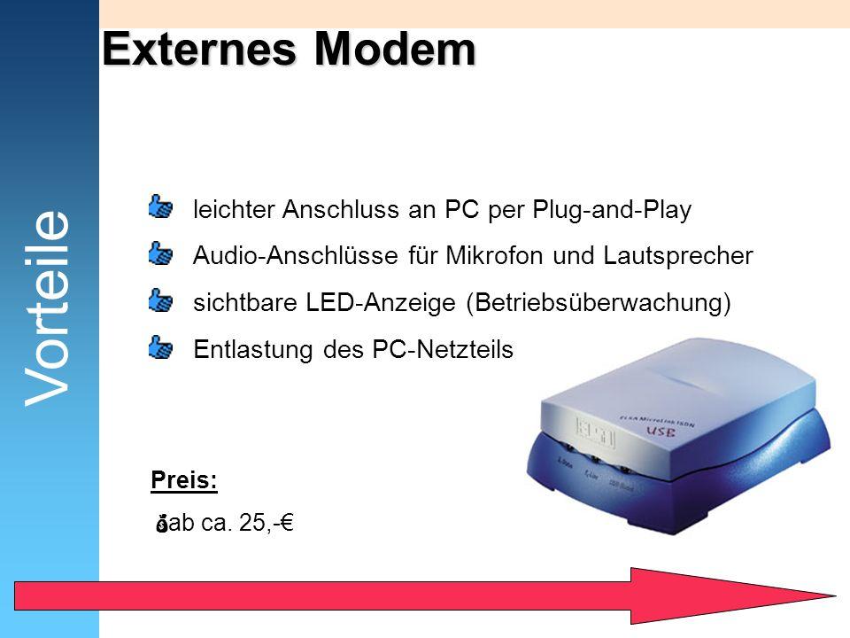 Vorteile Externes Modem leichter Anschluss an PC per Plug-and-Play