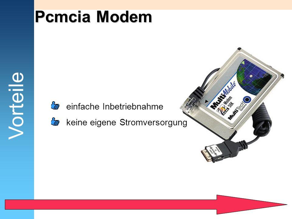 Vorteile Pcmcia Modem einfache Inbetriebnahme