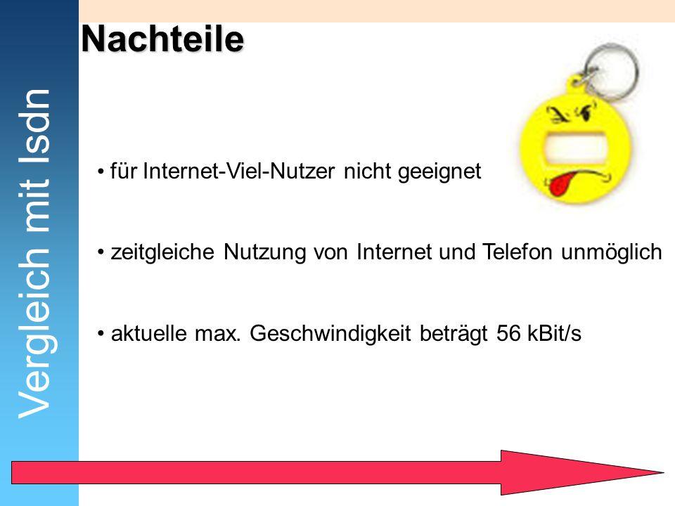 Vergleich mit Isdn Nachteile für Internet-Viel-Nutzer nicht geeignet