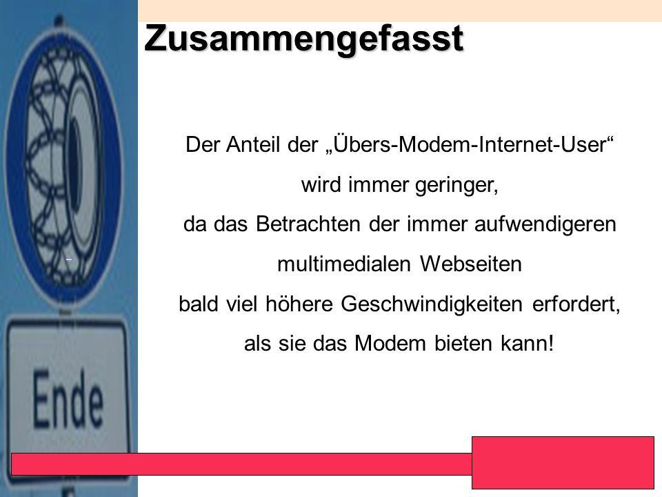 """Zusammengefasst Der Anteil der """"Übers-Modem-Internet-User"""