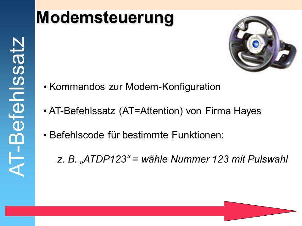 AT-Befehlssatz Modemsteuerung Kommandos zur Modem-Konfiguration