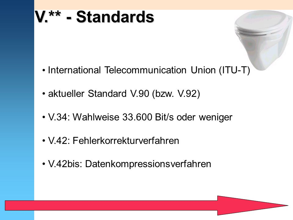 V.** - Standards International Telecommunication Union (ITU-T)