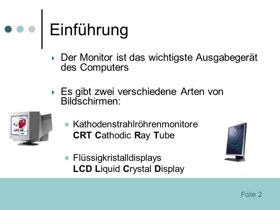 Einführung Der Monitor ist das wichtigste Ausgabegerät des Computers