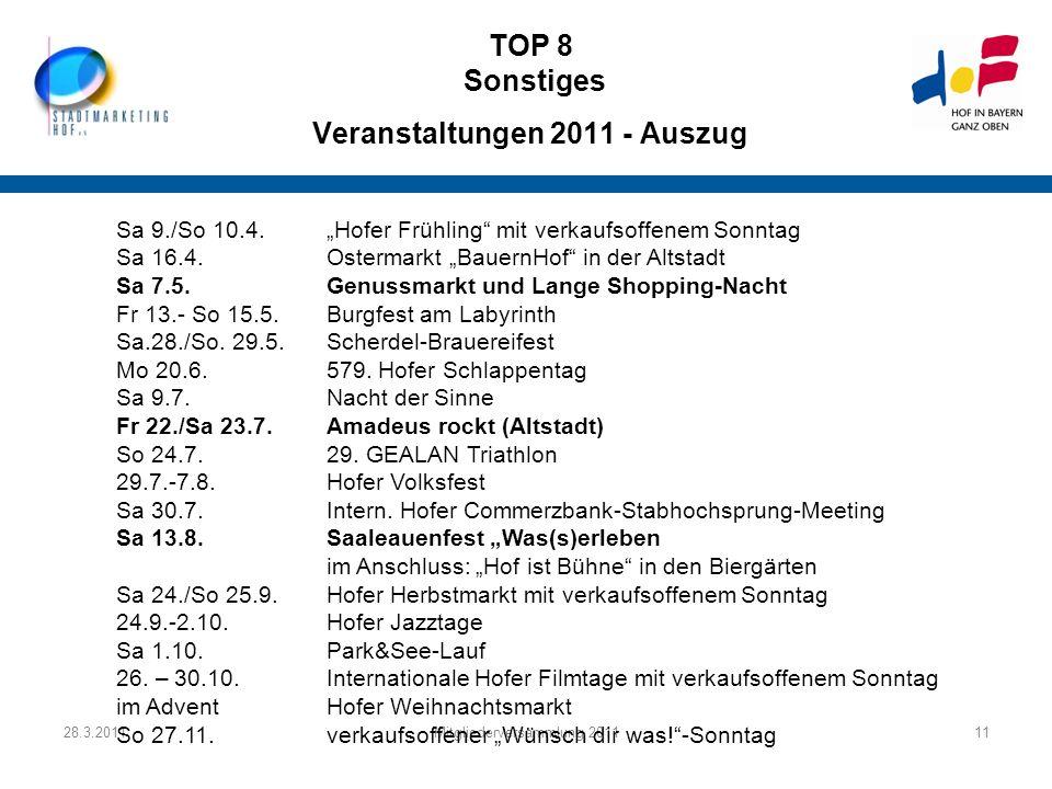 TOP 8 Sonstiges Veranstaltungen 2011 - Auszug