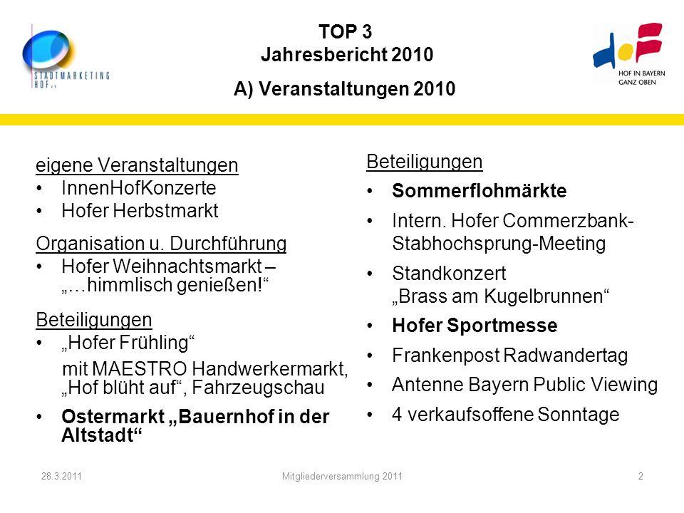 TOP 3 Jahresbericht 2010 A) Veranstaltungen 2010