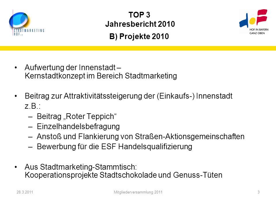 TOP 3 Jahresbericht 2010 B) Projekte 2010