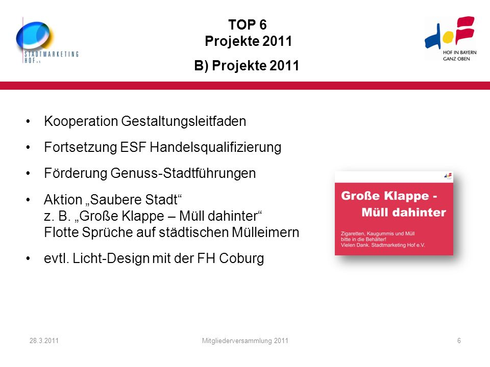 TOP 6 Projekte 2011 B) Projekte 2011