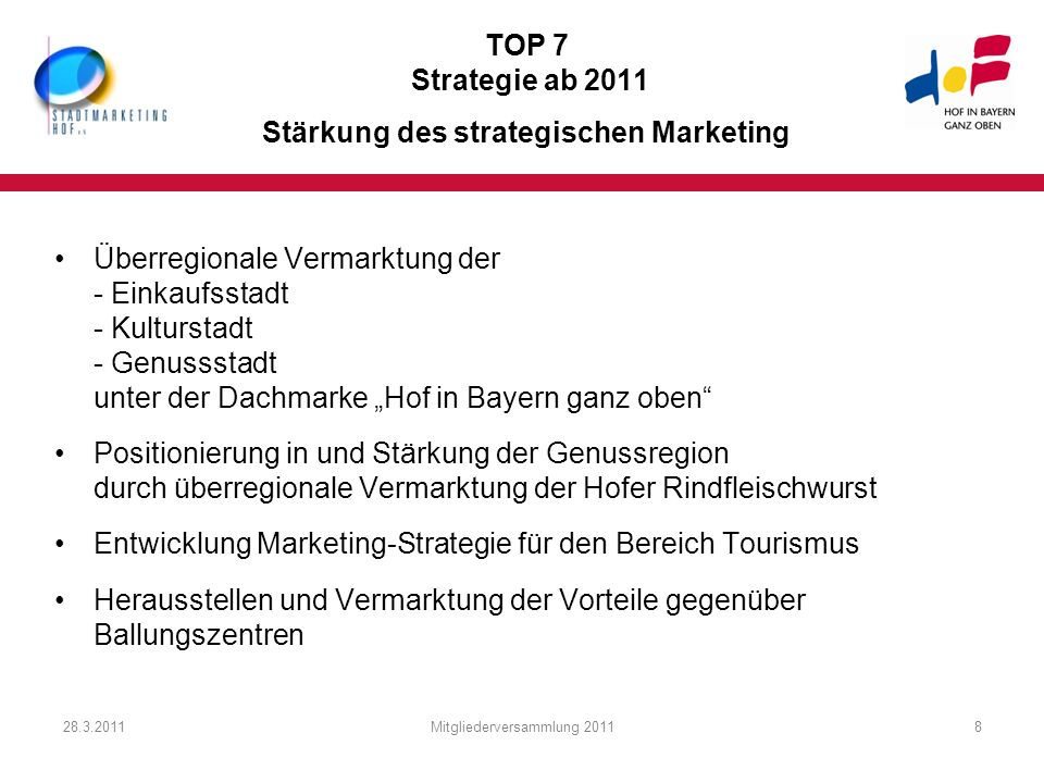 TOP 7 Strategie ab 2011 Stärkung des strategischen Marketing