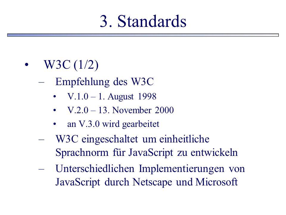 3. Standards W3C (1/2) Empfehlung des W3C