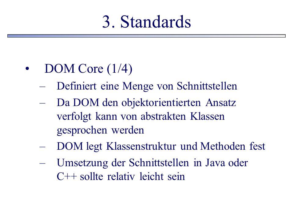 3. Standards DOM Core (1/4) Definiert eine Menge von Schnittstellen