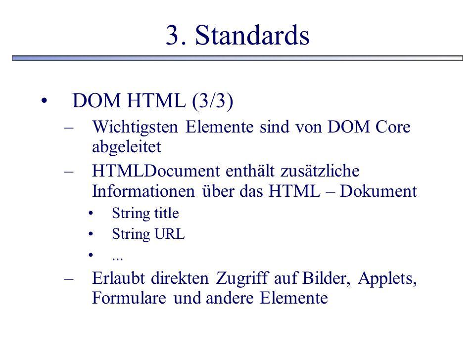 3. Standards DOM HTML (3/3) Wichtigsten Elemente sind von DOM Core abgeleitet.