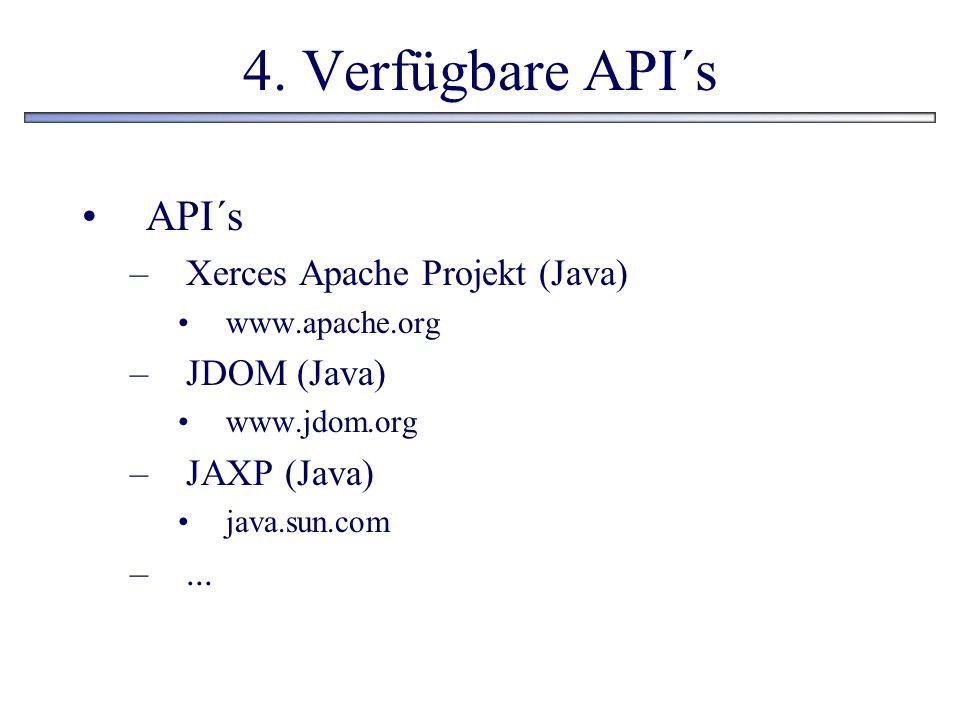 4. Verfügbare API´s API´s Xerces Apache Projekt (Java) JDOM (Java)