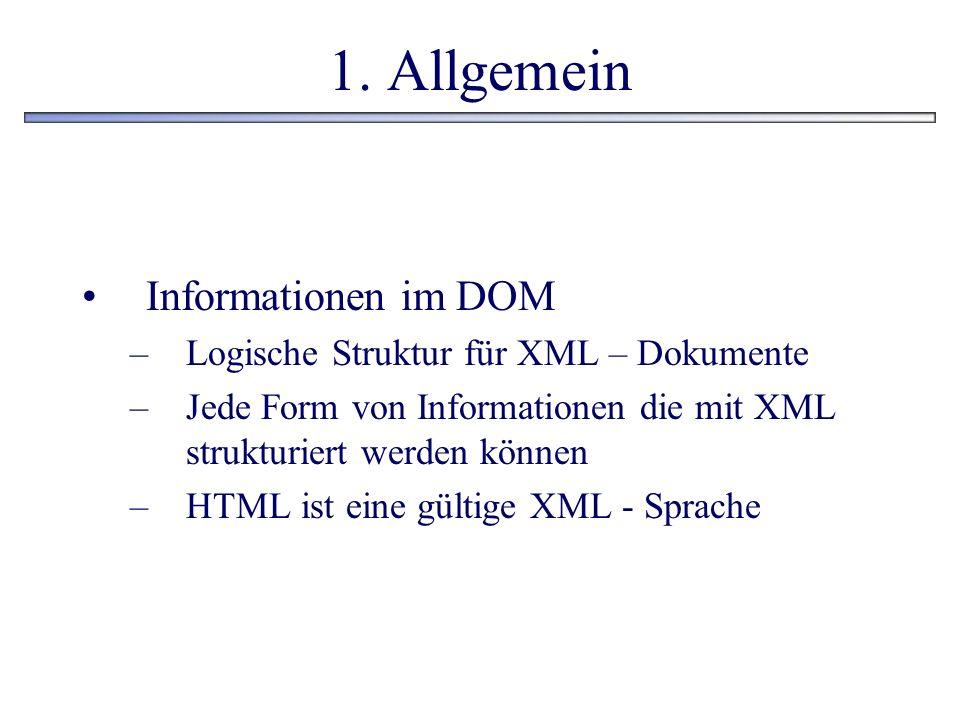 1. Allgemein Informationen im DOM