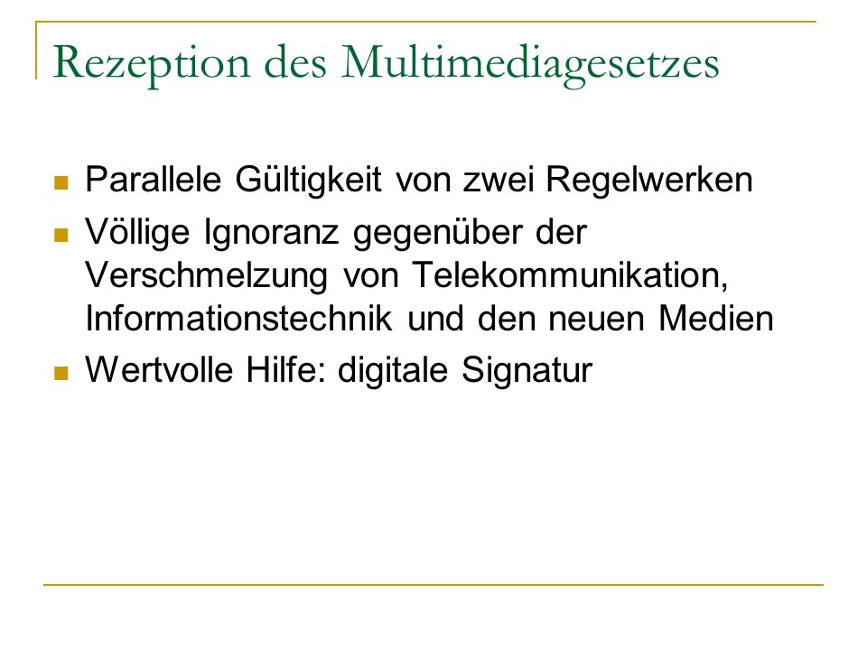 Rezeption des Multimediagesetzes