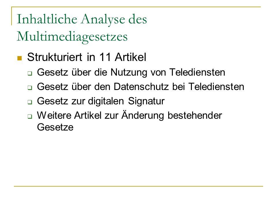Inhaltliche Analyse des Multimediagesetzes