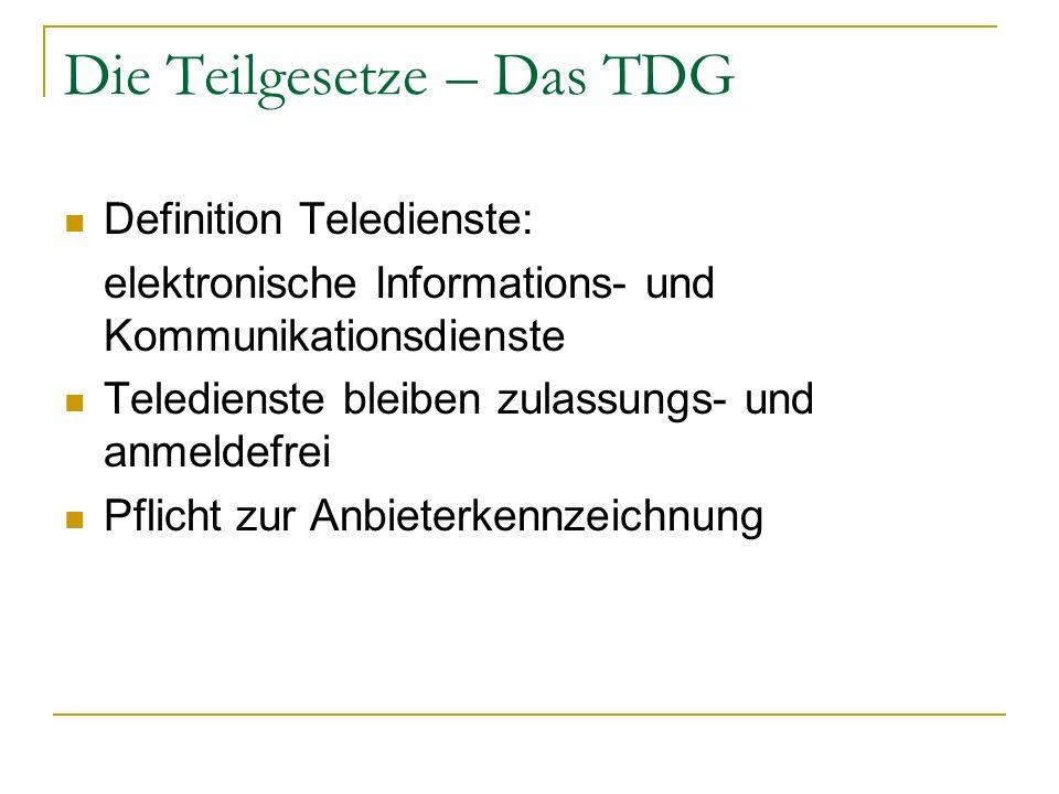 Die Teilgesetze – Das TDG