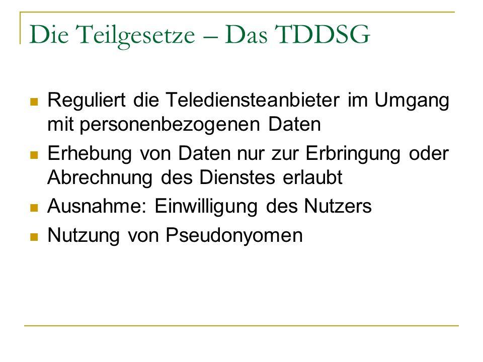 Die Teilgesetze – Das TDDSG