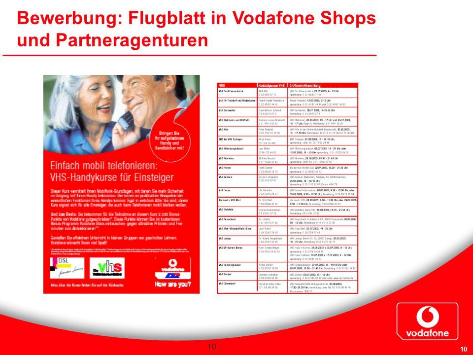 Bewerbung: Flugblatt in Vodafone Shops und Partneragenturen