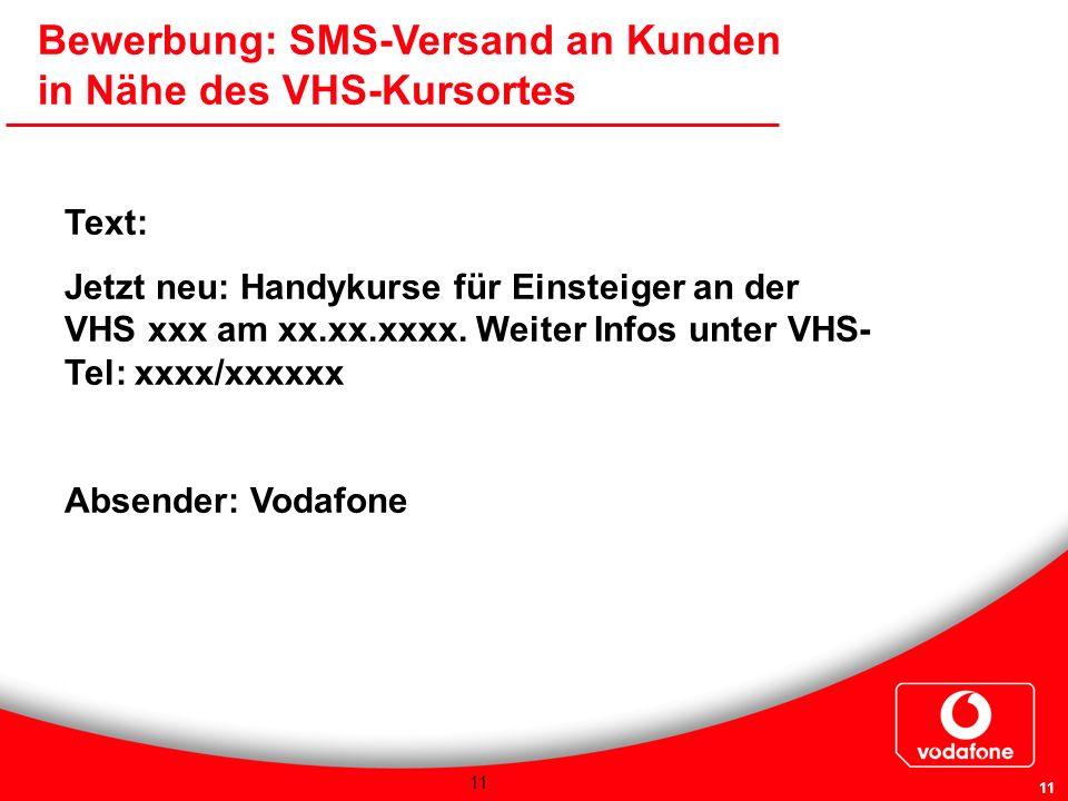 Bewerbung: SMS-Versand an Kunden in Nähe des VHS-Kursortes