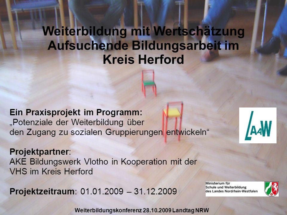 Weiterbildung mit Wertschätzung Aufsuchende Bildungsarbeit im Kreis Herford