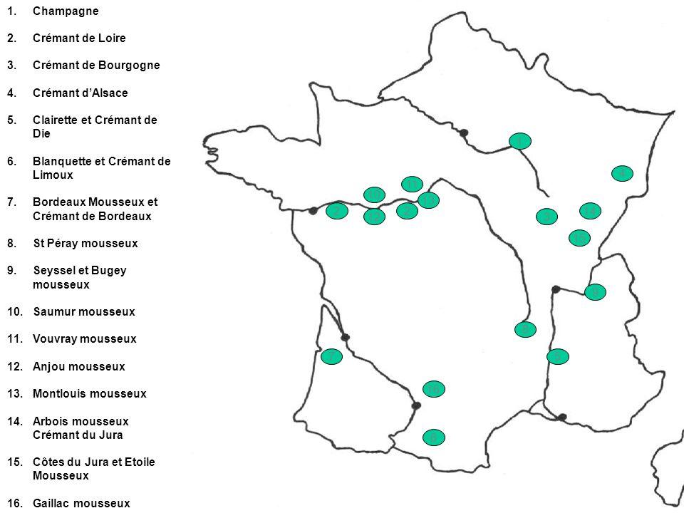 ChampagneCrémant de Loire. Crémant de Bourgogne. Crémant d'Alsace. Clairette et Crémant de Die. Blanquette et Crémant de Limoux.