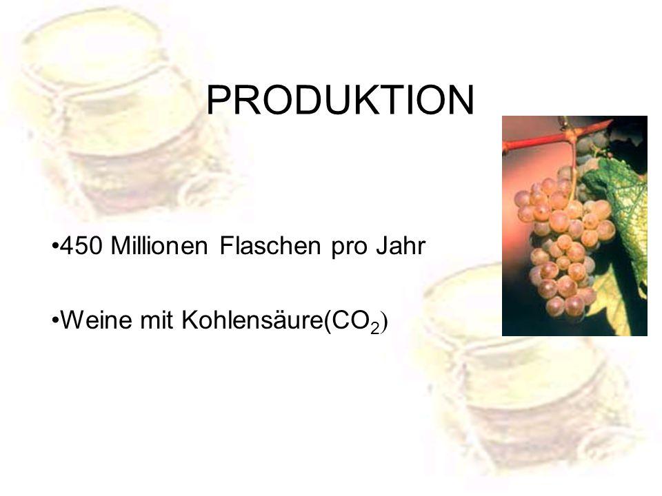 PRODUKTION 450 Millionen Flaschen pro Jahr Weine mit Kohlensäure(CO2)