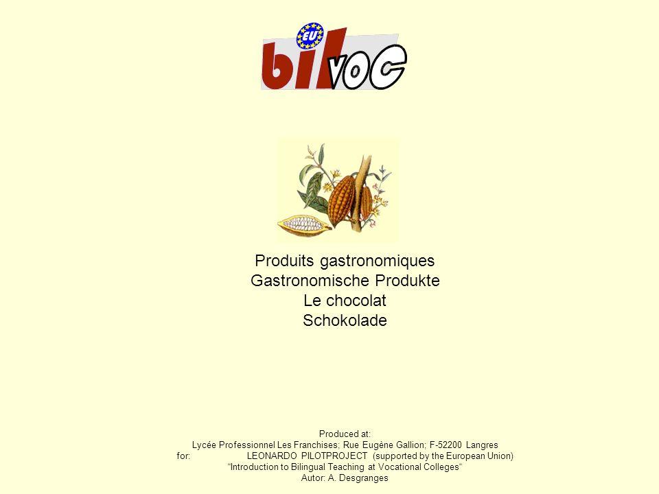 Produits gastronomiques Gastronomische Produkte Le chocolat Schokolade