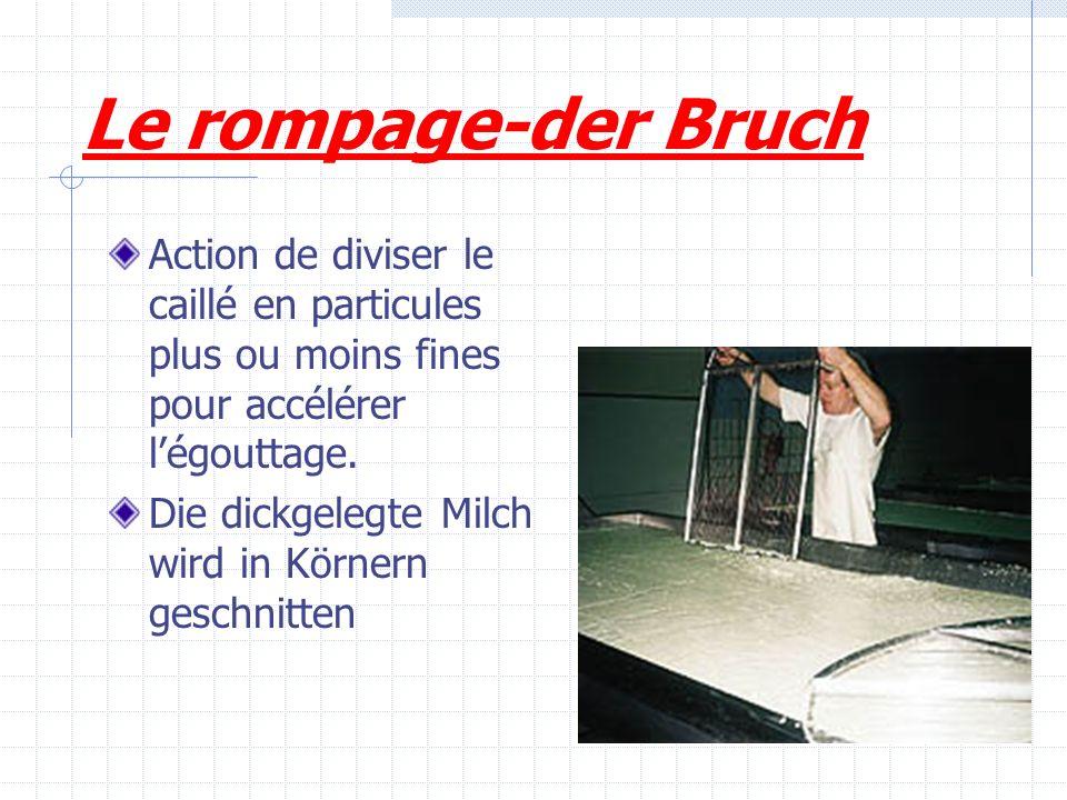 Le rompage-der Bruch Action de diviser le caillé en particules plus ou moins fines pour accélérer l'égouttage.