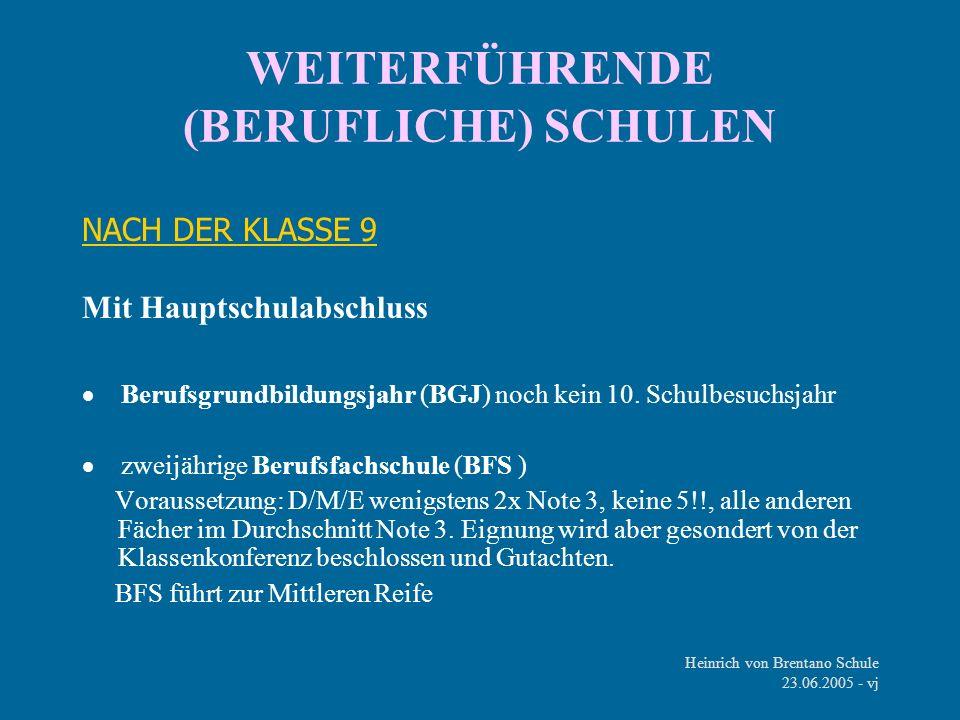 WEITERFÜHRENDE (BERUFLICHE) SCHULEN