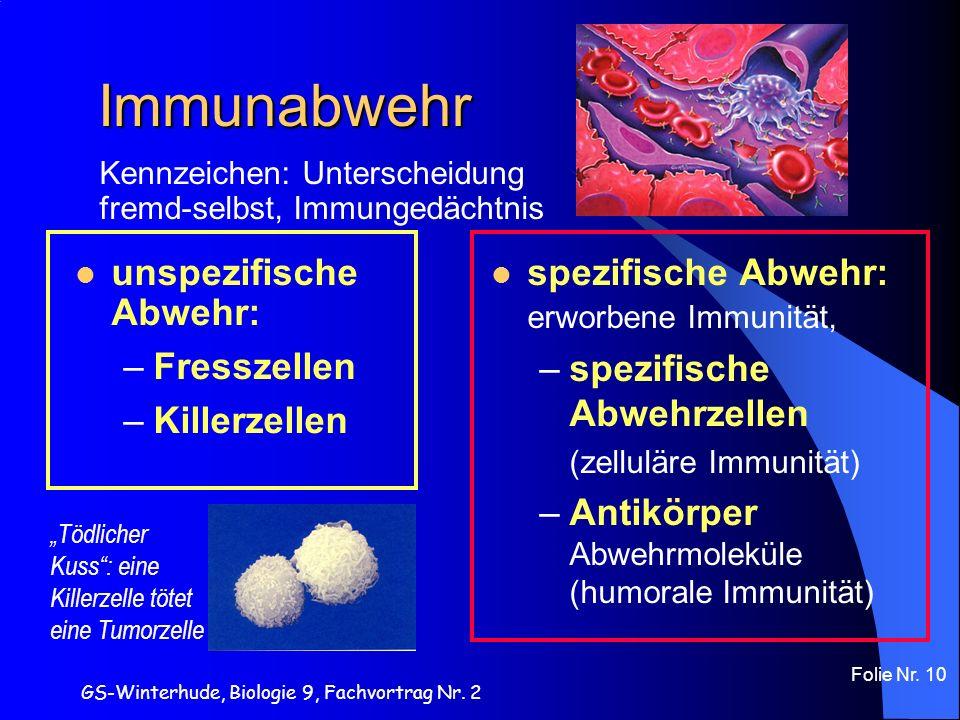 Immunabwehr unspezifische Abwehr: Fresszellen Killerzellen