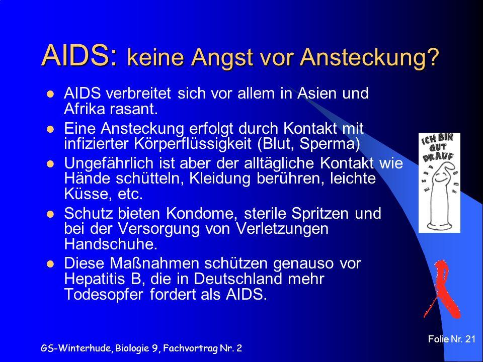 AIDS: keine Angst vor Ansteckung