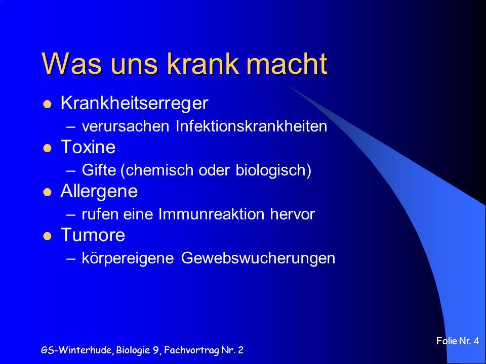Was uns krank macht Krankheitserreger Toxine Allergene Tumore