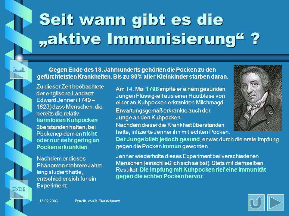 """Seit wann gibt es die """"aktive Immunisierung"""