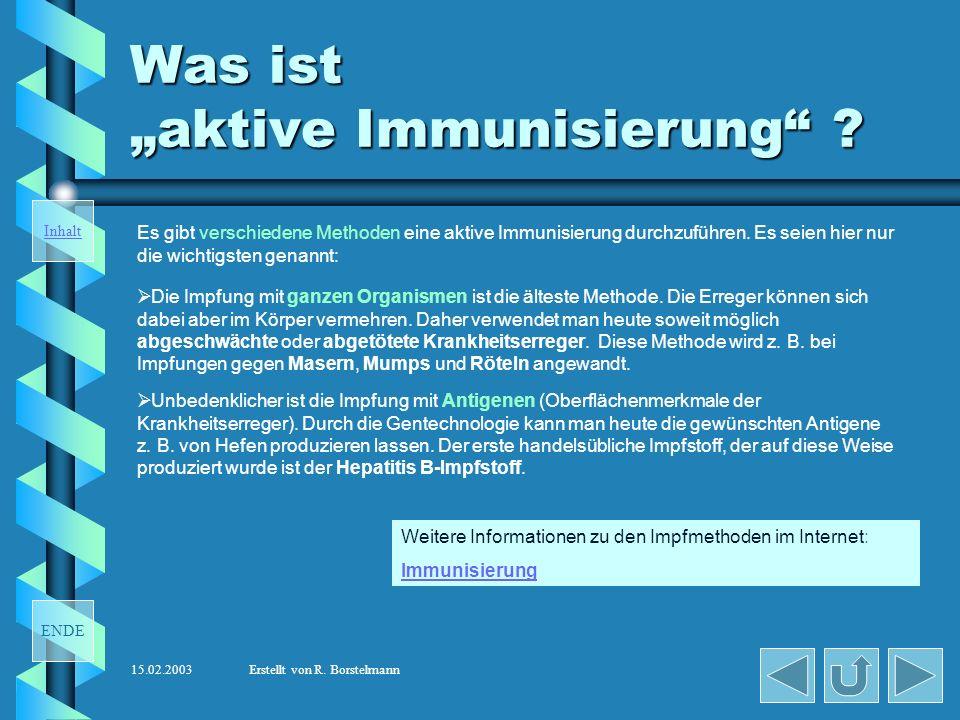"""Was ist """"aktive Immunisierung"""