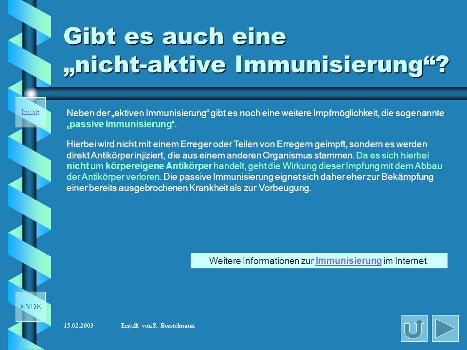 """Gibt es auch eine """"nicht-aktive Immunisierung"""
