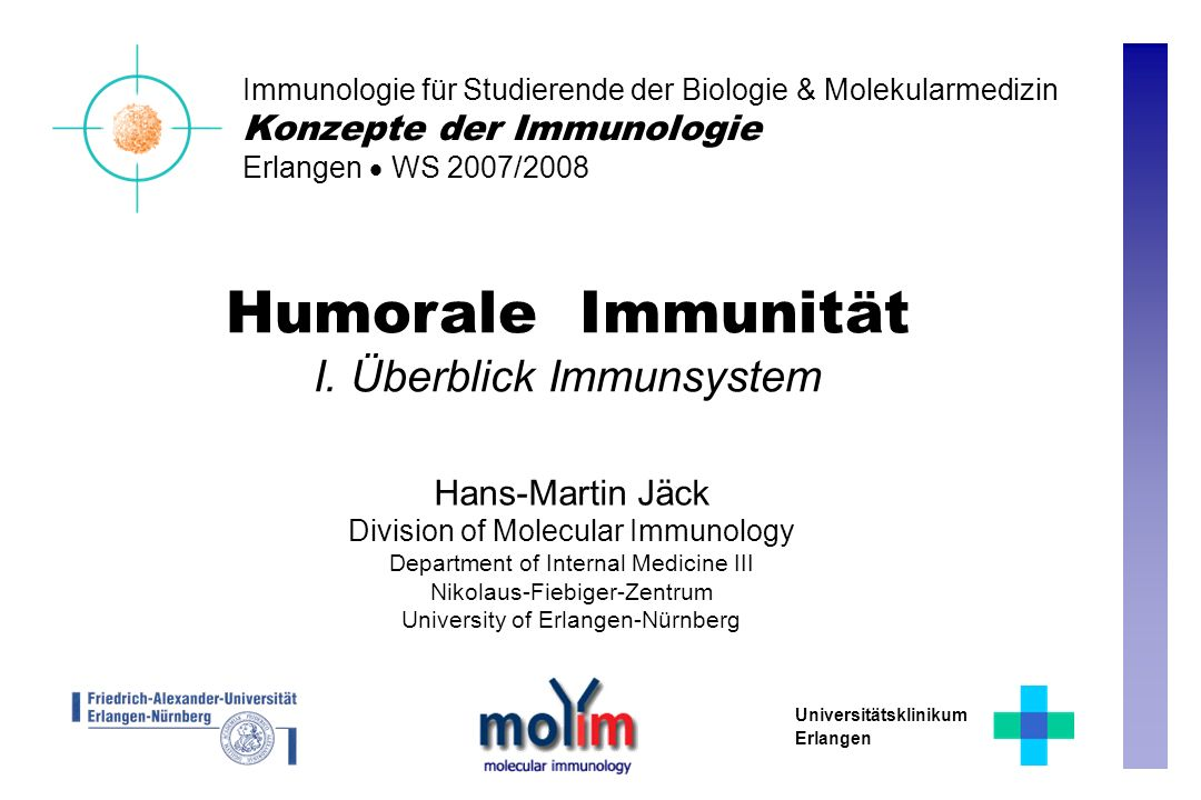 Humorale Immunität I. Überblick Immunsystem